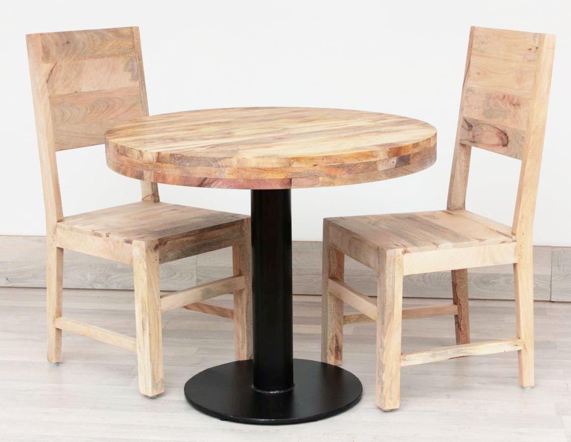 W Ultra Okrągły stolik industrialny z drewna mango BT05