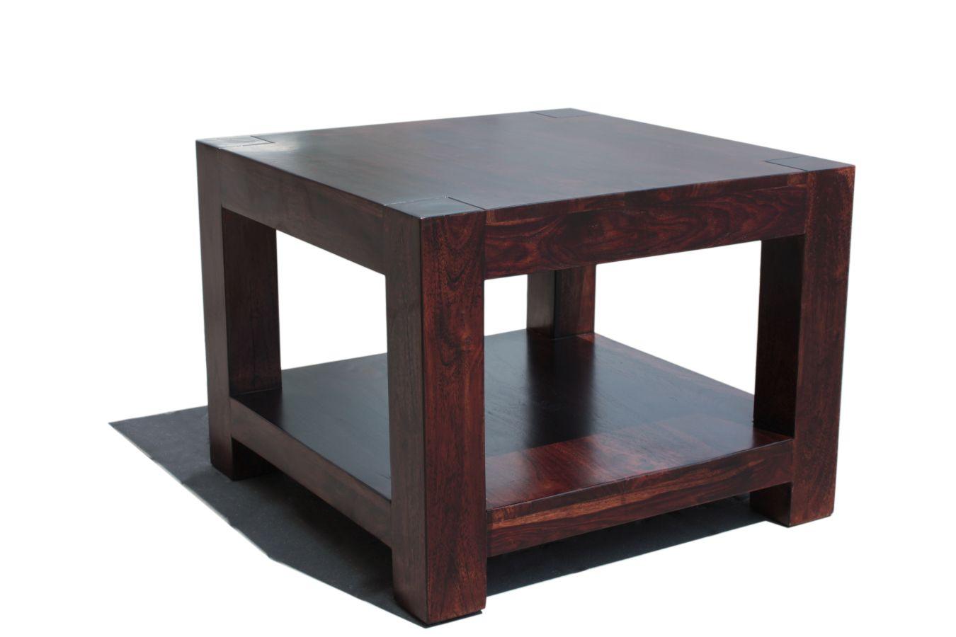 Ciemny Palisandrowy Stolik Kawowy Z Półką Z Litego Drewna Palisandrowego