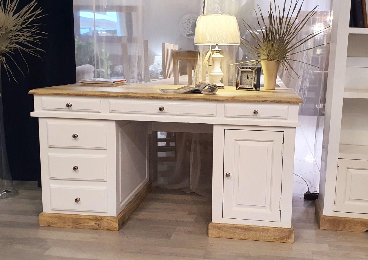 Białe duże drewniane biurko z mango